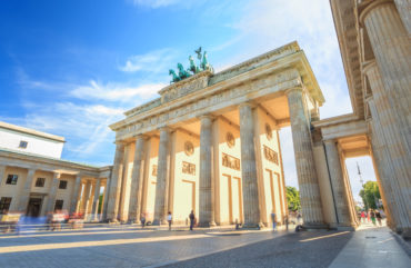 sunset at Berlin Brandenburg Gate of Germany